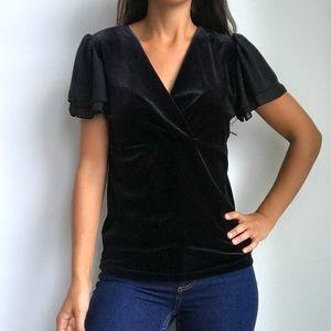 RALPH LAUREN black velvet Vneck chic blouse top M